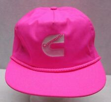 Vintage Cummins Trucker Hat Neon Hot Pink White Cap Adjustable
