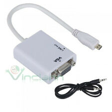 Adattatore da micro HDMI a segnale VGA audio convertitore+cavo aux 3.5mm bianco