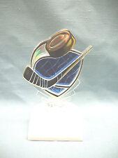 clear Hockey male skate trophies award blue backing white base
