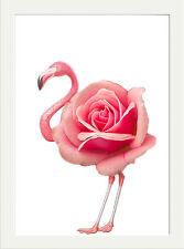 PINK ROSE FLAMINGO MODERN ART PRINT, DARKROOM PRINTS DESIGN WALL HANGING