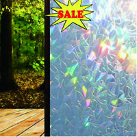 3D Window Glass Film Rainbow Sticker Stained Anti UV Self-adhesive 45*200cm