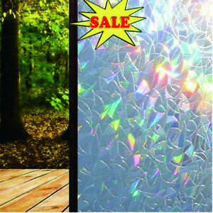 3D Window Glass Film Rainbow Sticker Stained Anti UV Self-adhesive 45*100cm