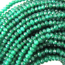 """3mm faceted jade rondelle beads 7.25"""" strand emerald green"""