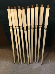 10 White Wooden Painted Spindles Balusters 34""