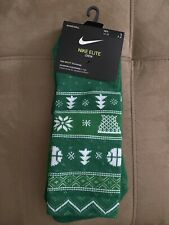 NIKE BASKETBALL CHRISTMAS ELITE CUSHIONED CREW SOCKS SX7866 312 Men XL GREEN