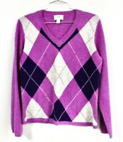 Charter Club 2 Ply 100% Cashmere Sweater Women's M Violet Purple Gray Argyle