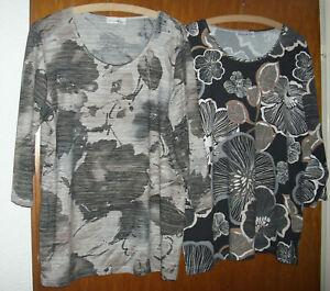 2 Shirts von Helena Vera HSE Gr. 46+48 schwarz grau bunt wie NEU