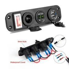 Dual USB Car Charger Adapter 12V Cigarette Lighter Socket LED Voltmeter Switch