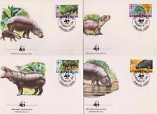 Liberia 1984 World Wildlife Fund Pygmy Hippopotamus - 4 First Day Covers - (107)
