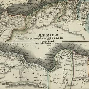 North Africa coastline Libya Tripoli Morocco c.1850 detailed Meyer German map