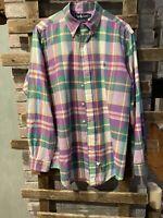 Men's Polo Ralph Lauren Button Up Shirt, Large Plaid, Long Sleeves