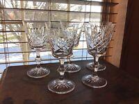 """5 Signed Edinburgh Crystal Lomond 6 1/8"""" Wine Glasses NICE"""
