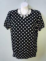 Lands' End Women's Black White Dot Short Sleeve Supima Cotton Pullover Sweater S