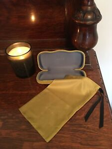 Gucci Velvet Glasses Case With Bag Mustard Yellow/Green