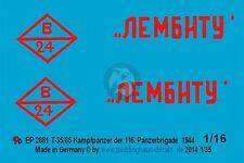 """Peddinghaus 1/16 Russian T-34/85 """"Lembitu"""" Tank Markings 116.TB Russia 1944 2881"""