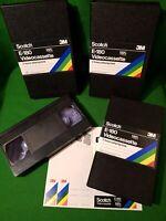 3x new SCOTCH 3m blank video E-180 3 Hour VHS Tape New Hard cassette Case