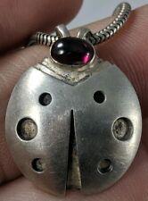 Ladybug Garnet Necklace Sterling Silver Handmade Pendant Teresa De La Guardia