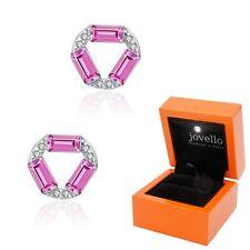 Zirkonia Kristall pink lila Ohrstecker Ohrstick aus 925 Silber + LED Schmuckbox