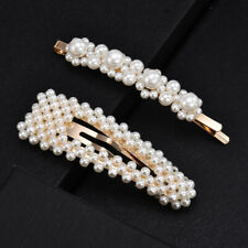 2x Pearl Hair Clips Hairband Comb Bobby Pin Barrette Hairpins Casual Accessories