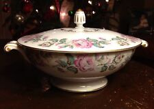 Vintage Sango Pink Rose  ~ Covered Soup Tureen Serving Dish With Lid **