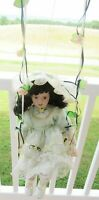 Porcelain Doll on Swing Rose 1-5000 Limited Edition w Mint Green Dress