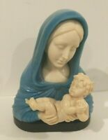 A.Santini Color Alabaster Pensive Mary & Baby Jesus Figure Sculpture Italy- Rare