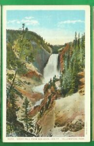 Yellowstone Nat'l Park/ Great Falls from Red Rock/ non-linen postcard