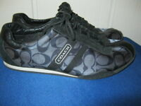 Coach Kate Signature Jacquard Leather BLACK Silver Sneakers SHOES Sz 8 EUC