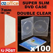 PREMIUM 100 x 7mm SUPER SLIM DVD Case DOUBLE CLEAR DVD Covers Slimline Spine