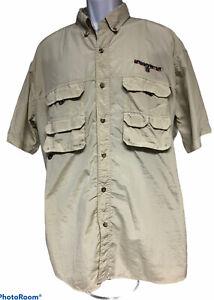 Bass Pro Shops Bassmaster Vented Fishing Button Down Shirt Short Sleeve Tan XL