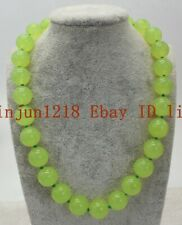 Natural Huge 14mm Green Peridot Round Beads Gemstone Necklace 18'' AAA++
