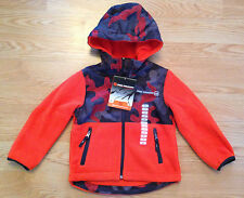 NWT Boy's FREE COUNTRY Orange Gray Camo Fleece Microtech Full Zip Jacket Size 4