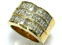 2.9 ctw Natural Princess Diamond Solid 14k Yellow Gold Invisible Set Wide Ring