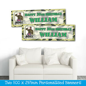 2 PERSONALISED ARMY CAMOUFLAGE PHOTO BIRTHDAY BANNERS - ANY NAME - ANY AGE