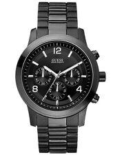 GUESS Men's Chronograph U12618G1 Waterpro Steel Band Black Dial Watch W/ Box