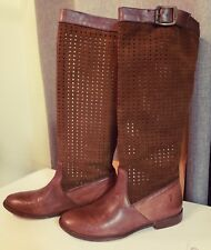 NIB FRYE PAIGE TALL BUCKLE BOOTS DARK BROWN LEATHER PERFORATED SUEDE SIZE 8