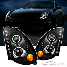 2003-2007 Led Projector Black Headlights Pair [Ccfl Halo] for Infiniti G35 Coupe