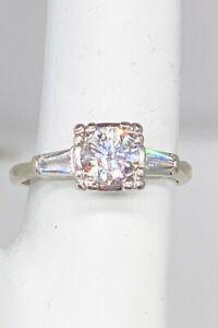 Antique 1942 $7000 1.40ct Old Euro Diamond 14k White Gold Palladium Wedding Ring