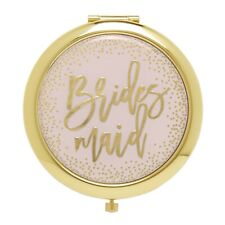 """CR Gibson Pink and Gold """"Bridesmaid"""" Pocket Compact Makeup Mirror - Brand New"""