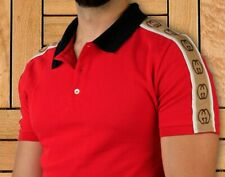 Gucci T Shirt Red Polo Size L Jacquard  Pique For Men New With Tags Genuine