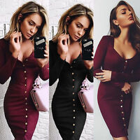 New Womens Ladies Bandage Bodycon Dress Cocktail Evening Party Pencil Midi Dress