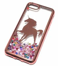 For iPhone 7 / 8 - Rose Gold Unicorn Pink Glitter Hearts Liquid Water Case Cover