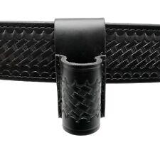Basketweave Leather Flashlight Holder Open Top Bottom Compact Stinger Holster