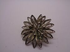 VINTAGE SILVER TONE METAL  FILIGREE FLOWER BROOCH PROM PARTY FESTIVAL