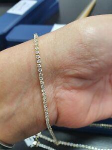 F/VS 3.00ct Round Diamond Tennis Bracelet in 18K Yellow Gold Hallmarked