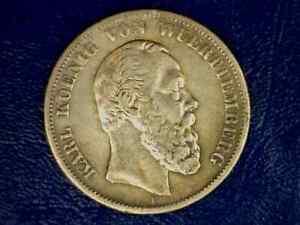 1876-F Scarce Wurttemberg German State 5 Marks Silver Crown KM # 623, 27.5 grams