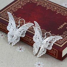 Pretty 1 Pair Lady Silver Plated Crystal Rhinestone Butterfly Hook Earrings