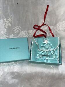 Tiffany & Co Crystal Christmas Tree Ornament w/ etching, felt bag, box.