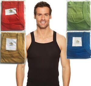 Mens Vest Designer Cut  Organic cotton Ribbed Thermal Vests RIB GYM TANK TOP