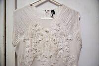 Topshop Designer embellished white net party dress (UK 10)